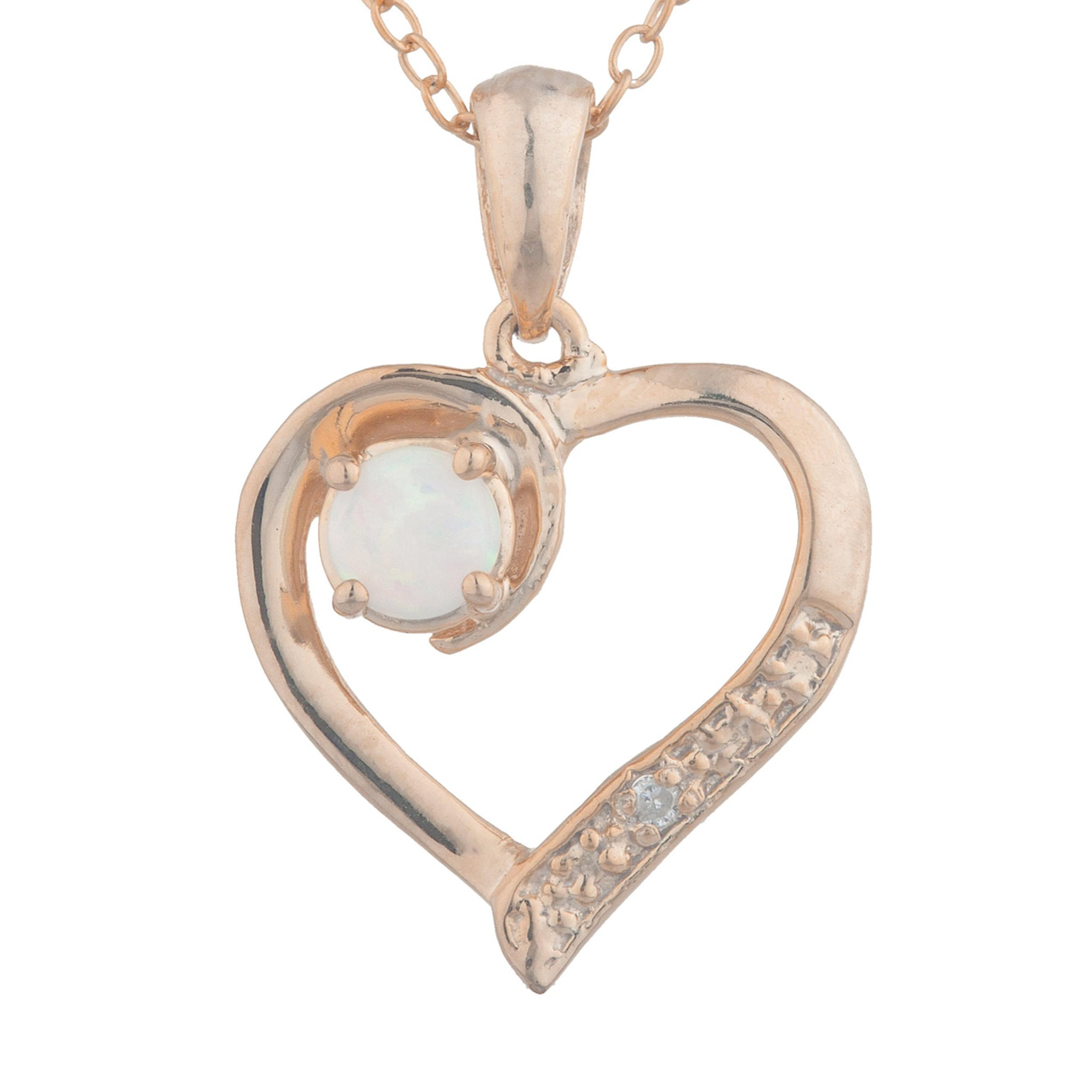14Kt Rose Gold Plated Opal & Diamond Heart Pendant