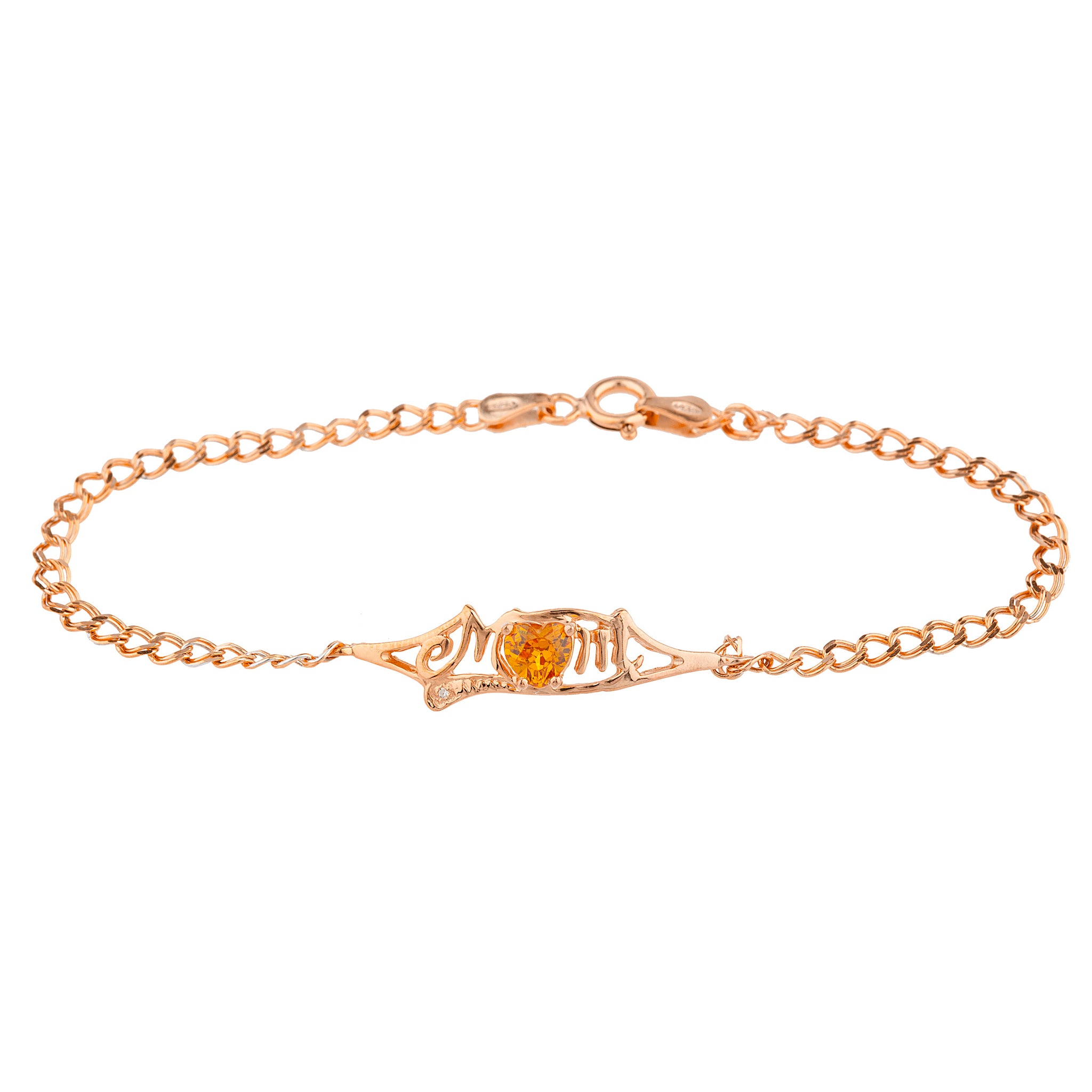 Orange Citrine & Diamond Heart Mom Bracelet 14Kt Rose Gold Plated Over .925 Sterling Silver