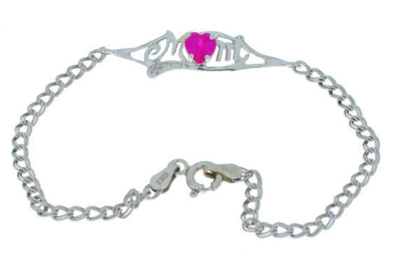 0.50 Ct Ruby & Diamond Heart Mom Bracelet .925 Sterling Silver