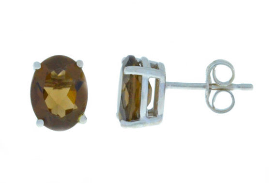 14Kt White Gold Smoky Quartz Oval Stud Earrings