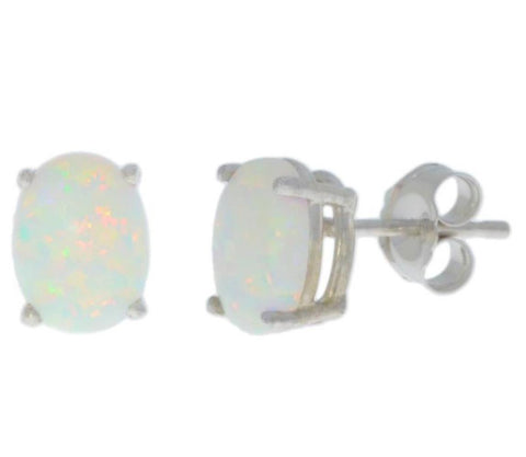 14Kt White Gold Genuine Opal Oval Stud Earrings