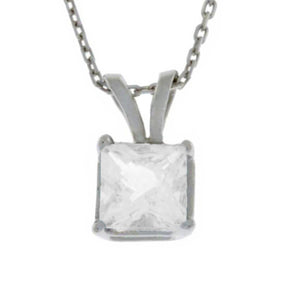 14Kt Gold White Sapphire Princess Cut Pendant Necklace