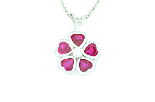 2.5 Ct Ruby Heart Bezel Pendant .925 Sterling Silver Rhodium Finish
