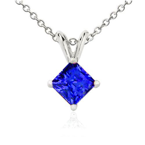 1 Ct Blue Sapphire Princess Cut Pendant .925 Sterling Silver Rhodium Finish