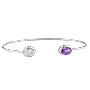 Aquamarine & Amethyst Oval Bezel Bangle Bracelet .925 Sterling Silver