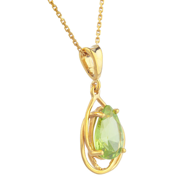 14Kt Yellow Gold Plated Peridot Pear Teardrop Design Pendant