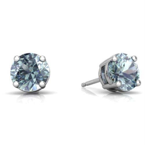 14Kt White Gold Aquamarine Round Stud Earrings