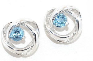 3mm London Blue Topaz Round Stud Earrings .925 Sterling Silver