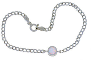 Opal Round Bezel Bracelet .925 Sterling Silver Rhodium Finish [Jewelry]