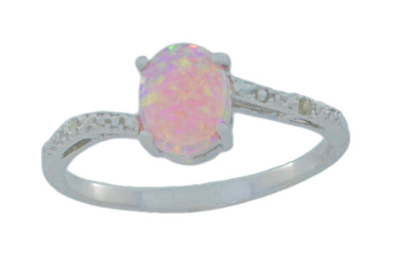 14Kt White Gold Pink Opal & Diamond Oval Ring