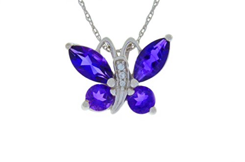 2 Carat Genuine Amethyst Butterfly Pendant .925 Sterling Silver Rhodium Finish