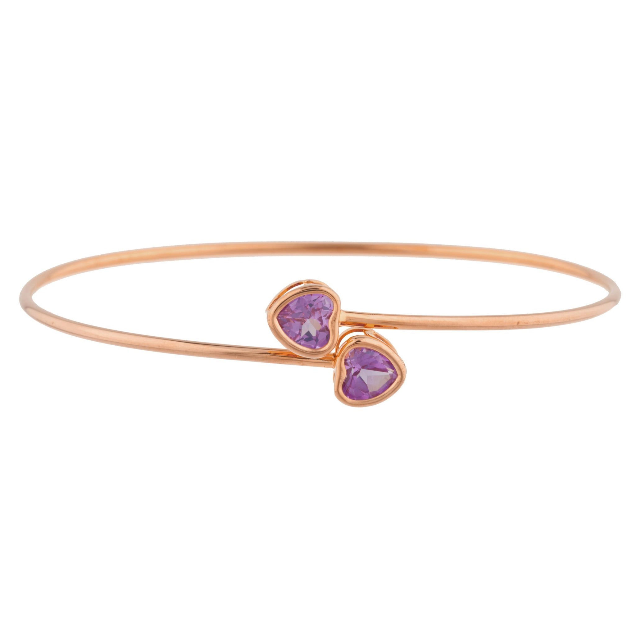 14Kt Rose Gold Plated Alexandrite Heart Bezel Bangle Bracelet