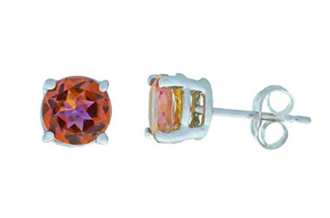 2 Ct Ecstasy Mystic Topaz Round Stud Earrings 14Kt White Gold