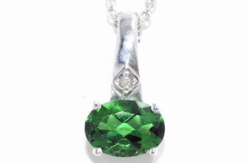 1 Carat Created Emerald Oval Diamond Pendant .925 Sterling Silver Rhodium Finish
