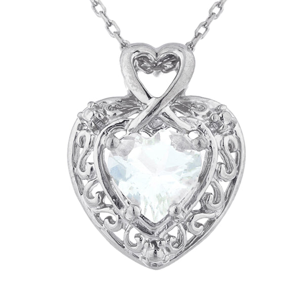 1.5 Ct Genuine Aquamarine Heart Design Pendant .925 Sterling Silver