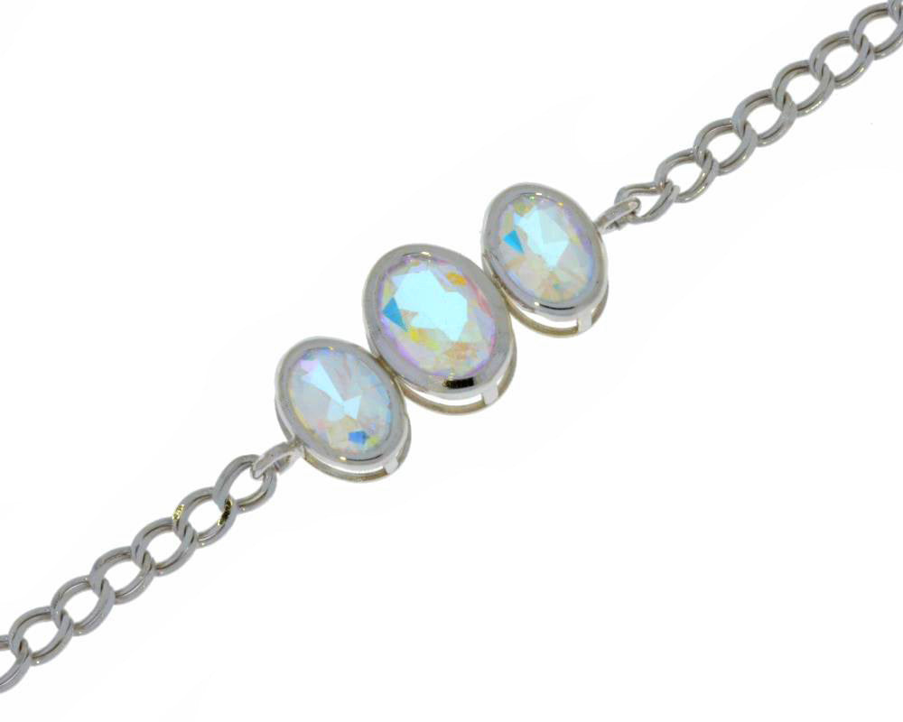 3.5 Ct Mercury Mist Mystic Topaz Oval Bezel Bracelet .925 Sterling Silver Rhodium Finish