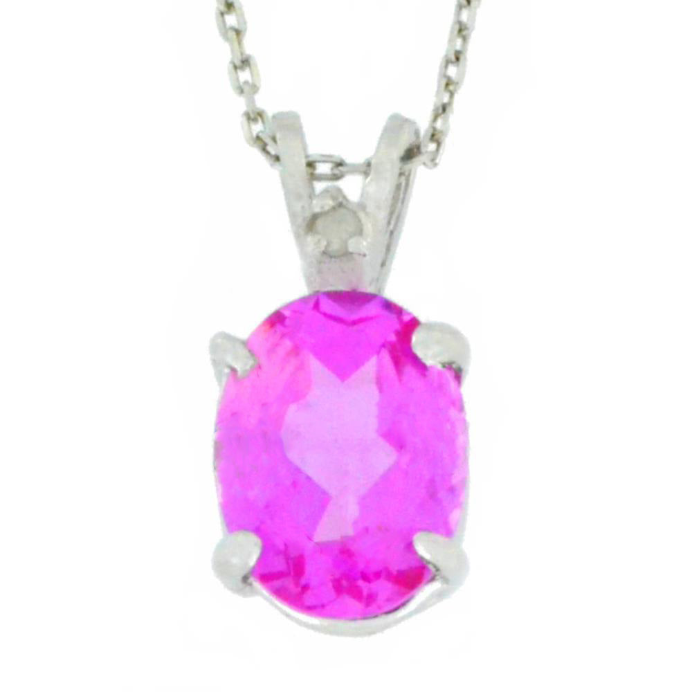 2.5 Ct Pink Sapphire & Diamond Oval Pendant .925 Sterling Silver Rhodium Finish