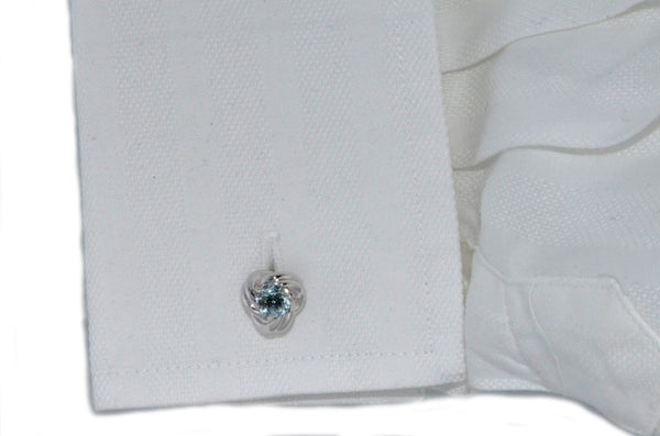 2.5 Ct Natural Aquamarine Knot Cufflinks Rhodium Plated