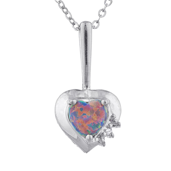 Black Opal & Diamond Heart Pendant .925 Sterling Silver