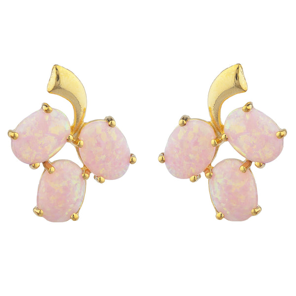14Kt Yellow Gold Plated Pink Opal Oval Design Stud Earrings