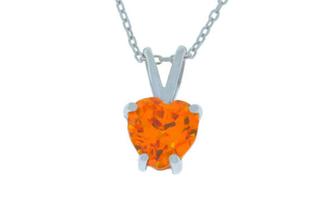 1 Ct Orange Citrine Heart Pendant .925 Sterling Silver Rhodium Finish
