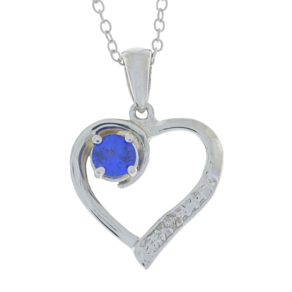 Created Blue Sapphire & Diamond Heart Pendant .925 Sterling Silver Rhodium Finish
