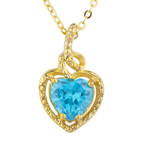 14Kt Gold Swiss Blue Topaz Heart Design Pendant Necklace