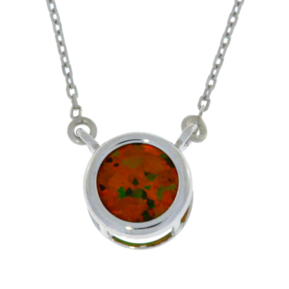 Black Opal Round Bezel Pendant .925 Sterling Silver Rhodium Finish