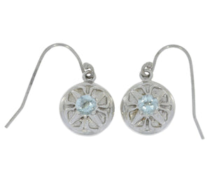 Genuine Aquamarine Round Dangle Earrings .925 Sterling Silver