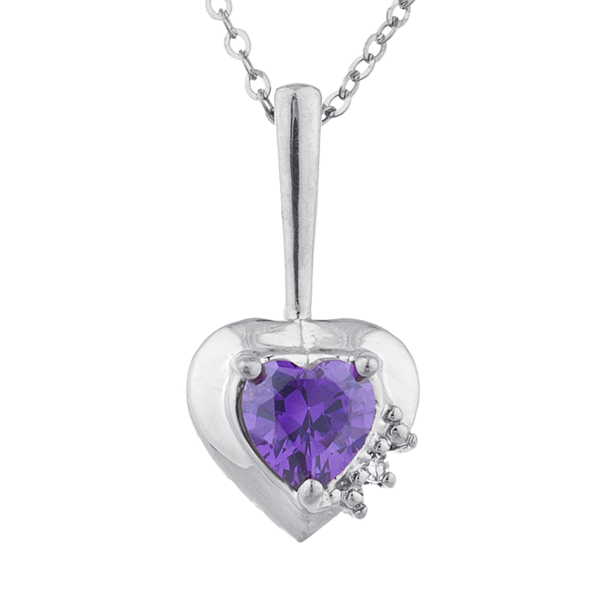 Amethyst & Diamond Heart Pendant .925 Sterling Silver