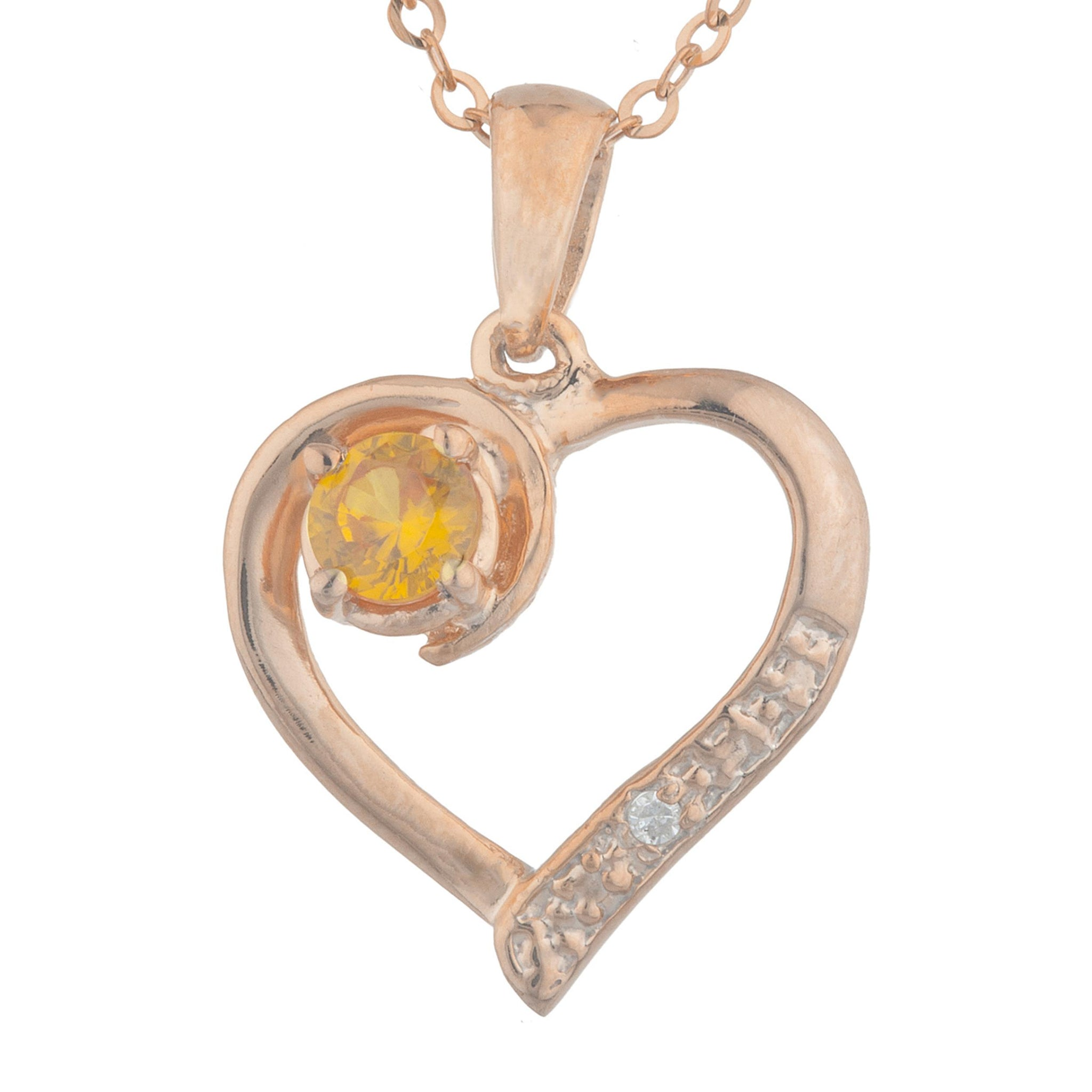 14Kt Rose Gold Plated Orange Citrine & Diamond Heart Pendant