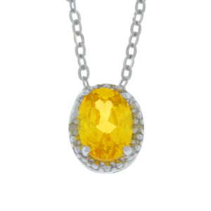 1 Ct Citrine Oval Diamond Pendant .925 Sterling Silver Rhodium Finish
