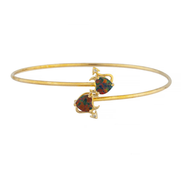 14Kt Gold Black Opal & Diamond Devil Heart Bangle Bracelet