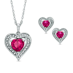 2.5 Carat Ruby & White Sapphire Heart Stud Earrings and Pendant .925 Sterling...
