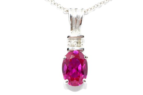 1 Carat Created Ruby Oval Diamond Pendant .925 Sterling Silver Rhodium Finish