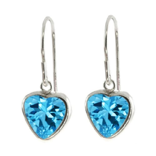 2 Ct Blue Topaz Heart Bezel Dangle Earrings .925 Sterling Silver