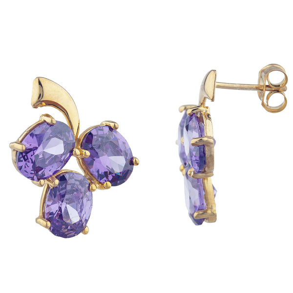 14Kt Yellow Gold Plated Amethyst Oval Design Stud Earrings