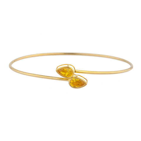 14Kt Gold Yellow Citrine Pear Bezel Bangle Bracelet