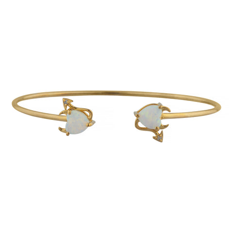 Opal & Diamond Devil Heart Bangle Bracelet 14Kt Yellow Gold Rose Gold Silver