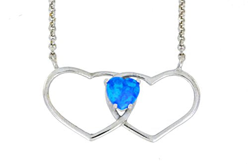 6mm Blue Opal Double Heart Pendant .925 Sterling Silver Rhodium Finish