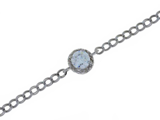 1 Ct Zirconia & Diamond Round Bracelet .925 Sterling Silver