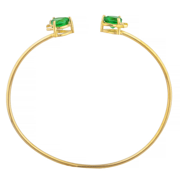 Emerald & Diamond Devil Heart Bangle Bracelet 14Kt Yellow Gold Rose Gold Silver