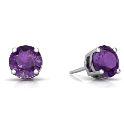 2 Ct Alexandrite Round Stud Earrings 14Kt White Gold