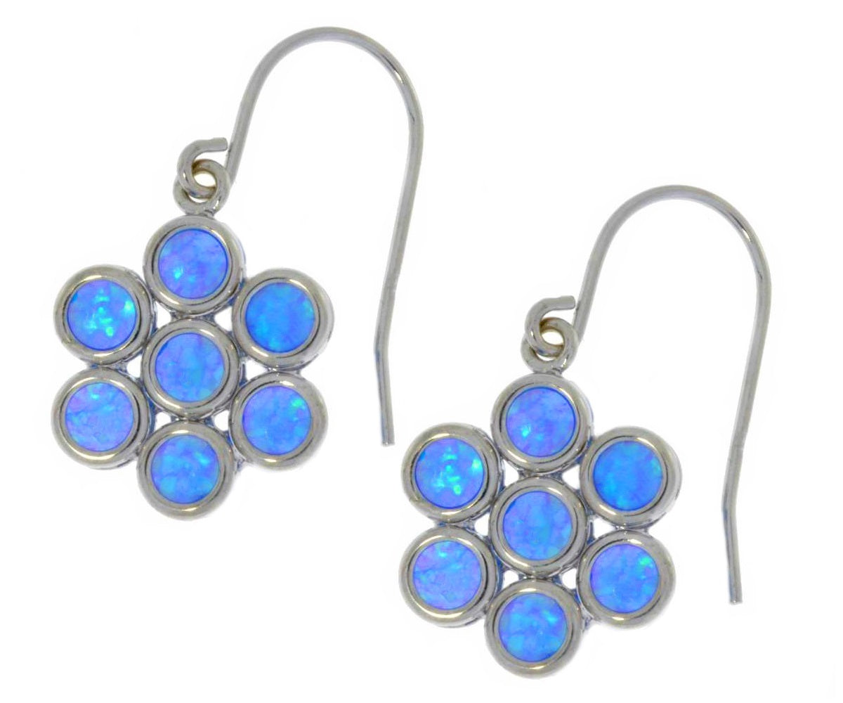 Blue Opal Round Bezel Dangle Earrings .925 Sterling Silver