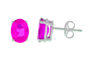 14Kt White Gold Pink Sapphire Oval Stud Earrings