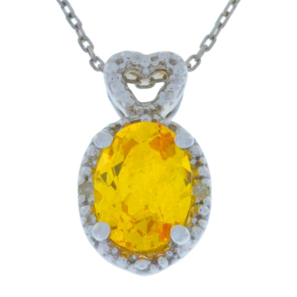 1.5 Ct Citrine & Diamond Oval Heart Pendant .925 Sterling Silver Rhodium Finish