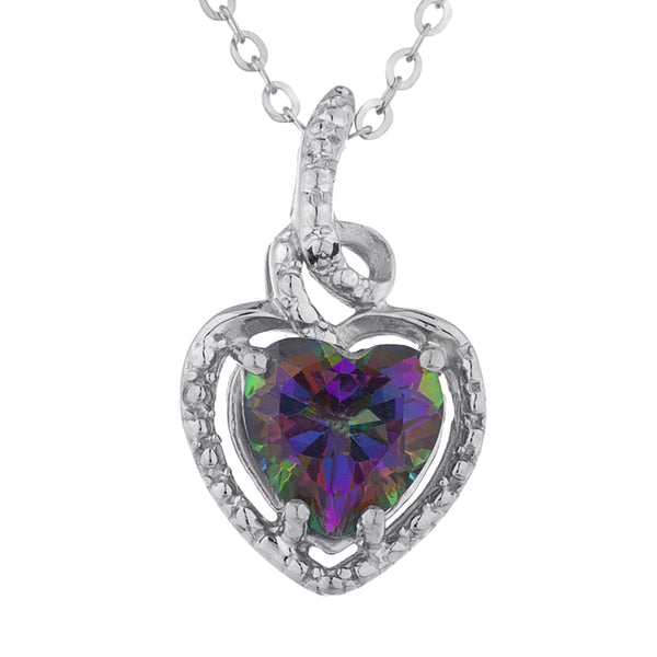 1.5 Ct Natural Mystic Topaz Heart Design Pendant .925 Sterling Silver
