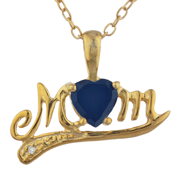 14Kt Yellow Gold Plated Genuine Black Onyx & Diamond Heart Mom Pendant