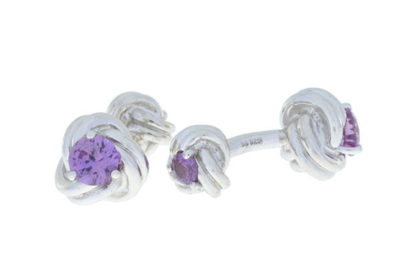 2.5 Ct Alexandrite Knot Cufflinks Rhodium Plated