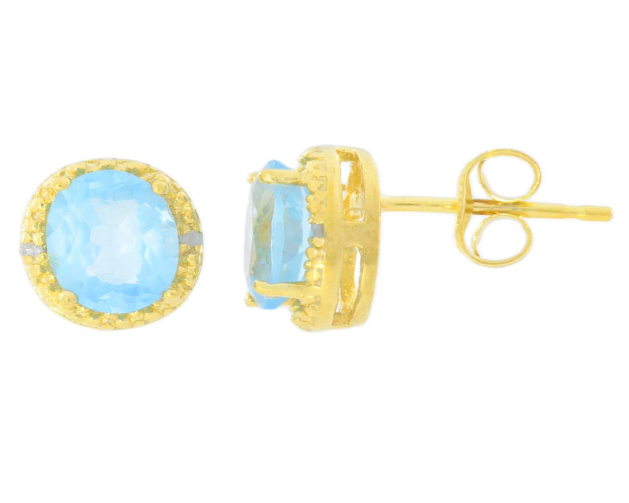 2 Ct Blue Topaz & Diamond Round Stud Earrings 14Kt Yellow Gold